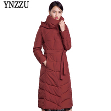 YNZZU Brand 2018 New Winter Women Long Down Jackets Elegant Slim Duck Coats Hooded Thick Warm Womens Jacket with Belt O596