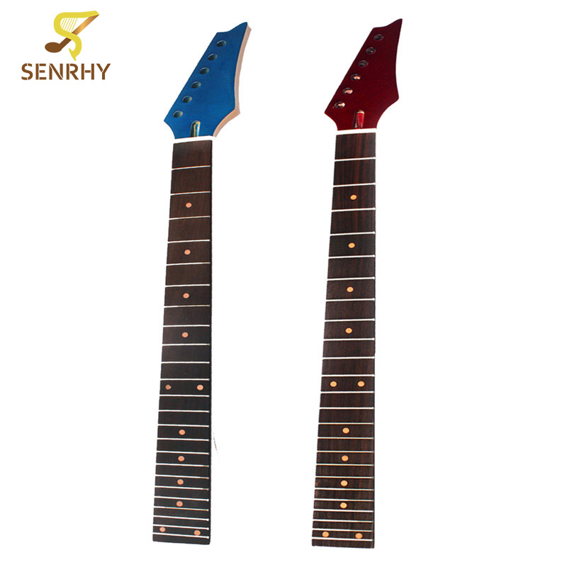 SENRHY Electric Guitar Neck 24 Fret Maple Rosewood Fretboard Brown Gloss For ST Part Guitar Parts & Accessories High Quality neck and fretboard fingerboard for 26 inch tenor ukulele hawaii guitar parts maple and rosewood 18 fret