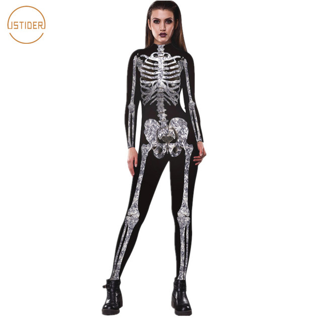 ec599d2784e ISTider Halloween Costume 3D Skeleton Jumpsuit Women Autumn Winter Long  Sleeve Slim Bodysuit Sexy Tight Nightclub