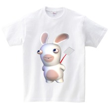 2-15Y Kids T-shirt Boys/Girls Summer Clothes Crazy Rabbit Cartoon T Shirt Children Round Neck Short Sleeve Tops Tee Baby YUBIE summer lovely baby boys short sleeve t shirt kids striped turtleneck neck tee tops polo shirt tops for 2 7 years teens