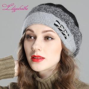 Image 5 - Liliyabaihe สไตล์ใหม่ผู้หญิงฤดูหนาว Berets Angora ถัก Beret ตกแต่ง Handmade Melange ถักหมวกคู่หมวก