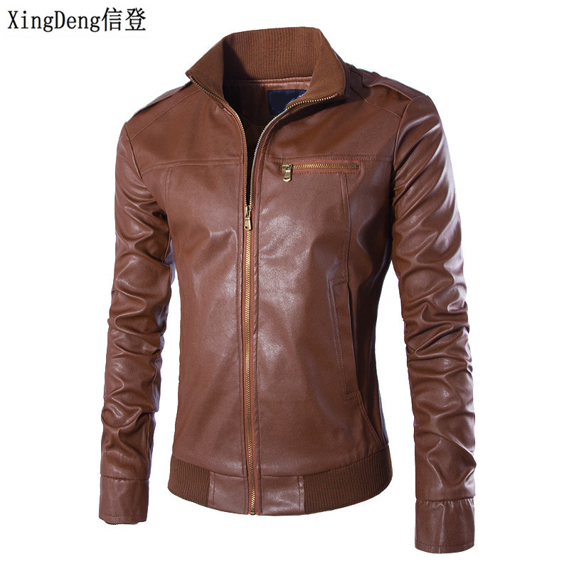 XingDeng Motorcycle Leather Fashion Jackets Men Business Casual Outdoors Coats Leather Top Clothing Bomber Jacket Male