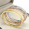 Hot Sale Hollow Roman numerals Gold Plated 316L Stainless Steel Bangle Bracelets For Women Gift top quality