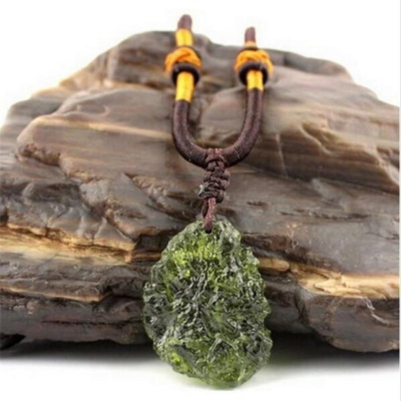 Natural Moldavite green aerolites crystal stone pendant energy apotropaic free rope Necklace Health From Czech Healing Reiki(China)