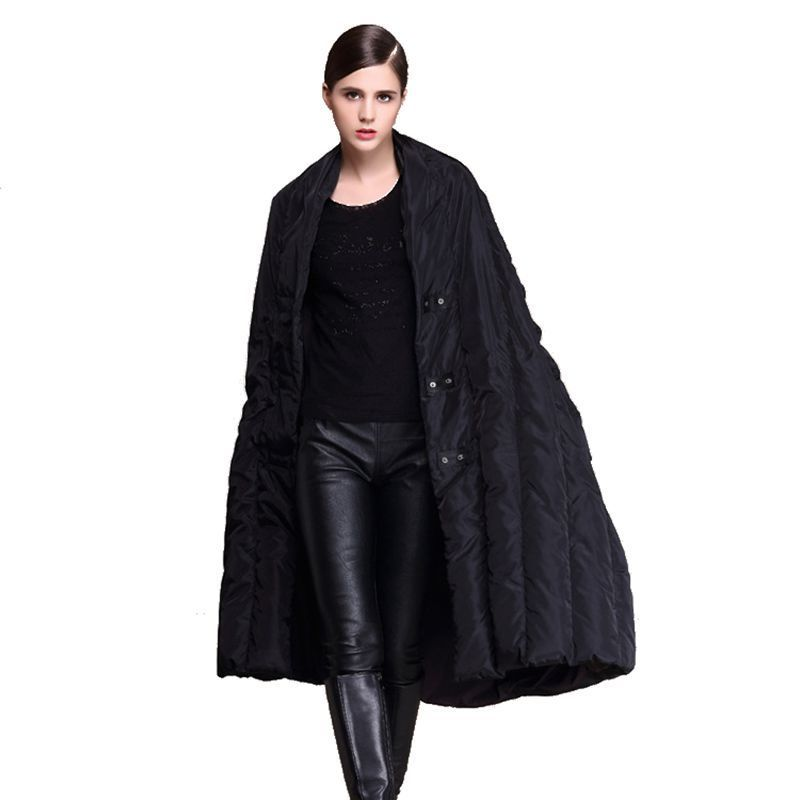 2018 winter new long down jacket cloak type warm long-sleeved womens down jacket 889