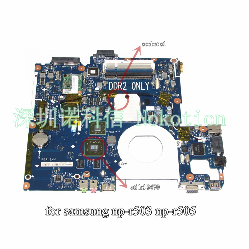 NOKOTION BA92-05907B BA92-05907A Notebook PC Motherboard For Samsung R505 Main Board Sockets1 DDR2 ATI Free CPU notebook motherboard for samsung np550 np550p5c n13p gt a2 gt650m ba92 09094a ba41 01898a tested ok free shipping