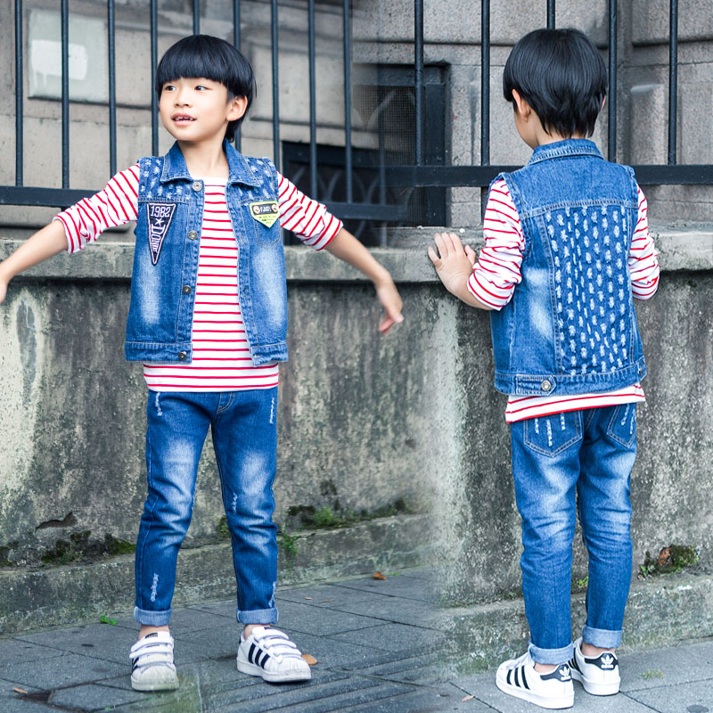 2016 new Korean jeans male Tong Chunqiu new children's T-shirt vest three-piece Kids giving small gifts US Size от Aliexpress INT