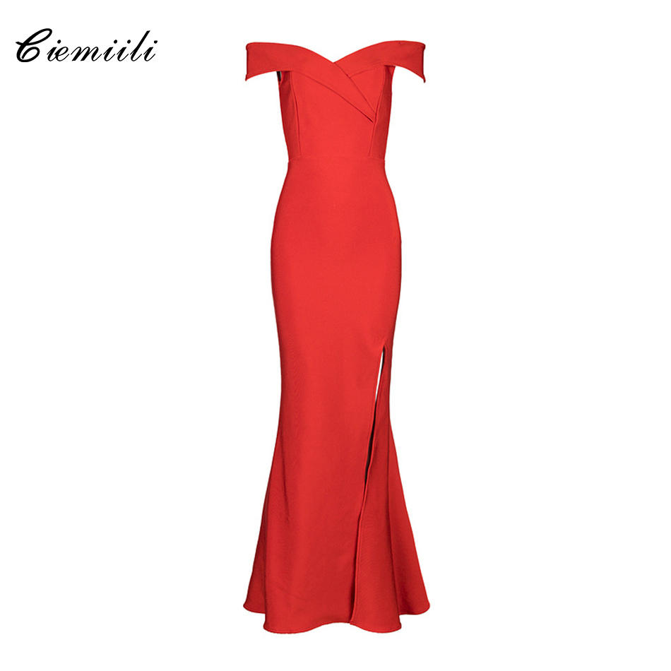 CIEMIILI Off Shoulder Strapless Solid Fit and Flare High Split Bandage Women Celebrity Party Cocktail 2018