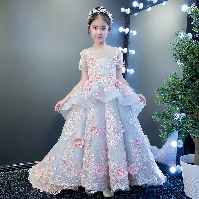 2019 New Kids Girl Tulle Wedding Trailing Pageant Party Dress Baby Girl Lace Princess Gown Children First Communion Vestido Q798