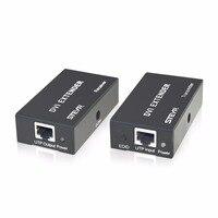 DVI Extender 60m STEYR 60m DVI Signal Extender Over Single Cat5e Cat6 Ethernet Cable Support 1080P