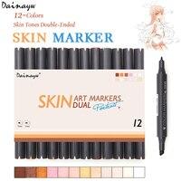 Dainayw 12 Colors Sketch Skin Tones Marker Pen Dual Head Art Markers Set For Drawing Manga