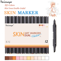 Dainayw 12 Colors Sketch Skin Tones Marker Pen Dual Head Art Markers Set For Drawing Manga