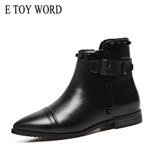 E TOY WORD Women Boots Classic flat Heel Pointed Booties For Black Ankle boots buckle straps fashion winter women