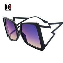 SHAUNA Oversize Square Sunglasses Women Brand Designer Ins Popular Metal Arm Gradient Shades