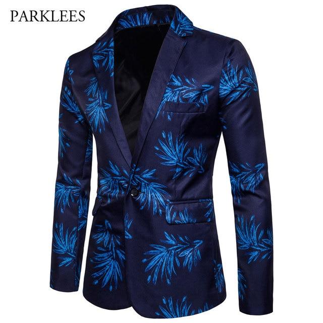 Trend Party Blazer For Men 2017 Fashion Print Casual Slim Fit Blazer Jacket Men One Button Designs Mens Floral Blazer Spring 3XL
