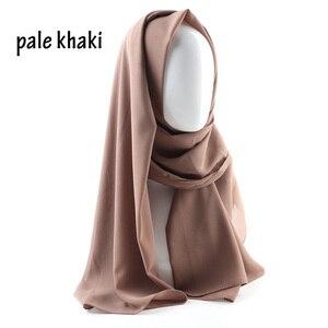 Image 5 - Une pièce femmes solide plaine bulle mousseline de soie écharpe enveloppes doux long islam foulard aokong châles musulman georgette foulards hijabs