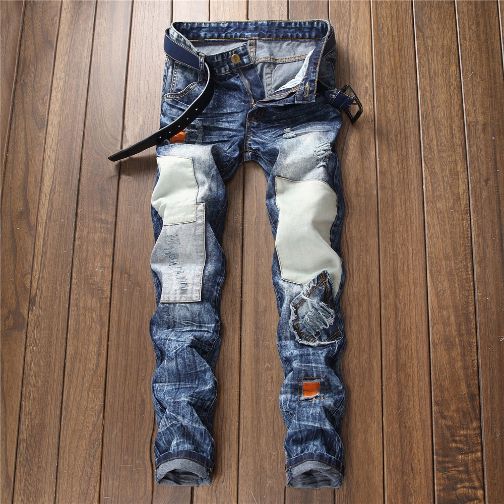 75b69348217b3 2018 fashion black ripped cal a jeans slim masculina patch vintage ...
