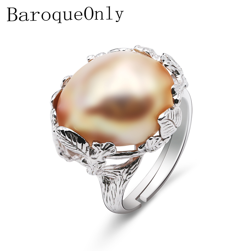 BaroqueOnly 925 Silver natural freshwater pearl 14 18mm high gloss mixed colour Baroque Pearl Ring Women