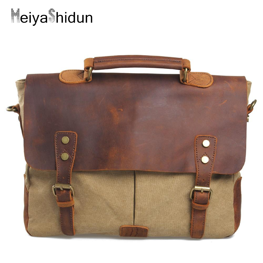MeiyaShidun Genuine Leather Men Bags Men Briefcase Business Shoulder Bag Canvas Messenger Bags Man Handbag Tote Bag Sac Hommes long handy designer luxury brand fashion men wallet male clutch purse bag card holder money perse portomonee walet cuzdan vallet