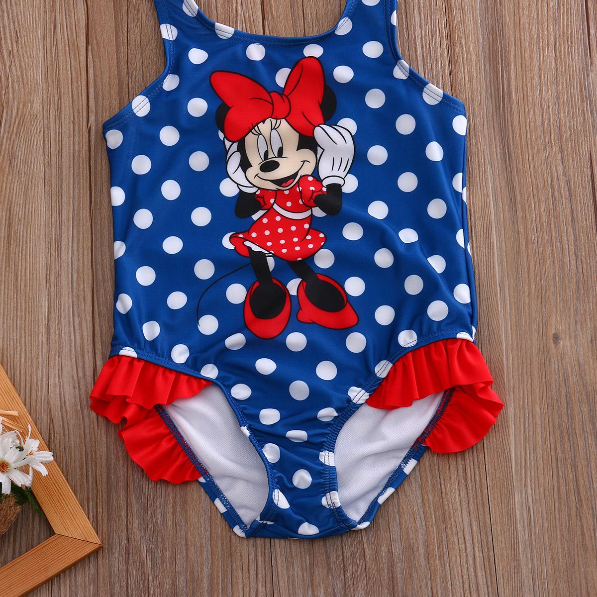 2017 Детский костюм, купальный костюм, купальный костюм в горошек, цельные костюмы для девочек, Танкини с рисунком мышки, От 1 до 5 лет для малыш... 15