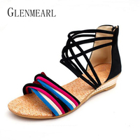 2017 Ethnic Summer Women S Flats Sandals Shoes Open Toe Flats Platform Bohemia Beach Sandals Wedges