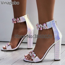 Vinapobo Plus Size 43 Sexy Women Sandals High Heels Shoes Rhinestone Thick Heel Sandals Woman Open Toe Crystal Ankle Strap Shoes цена и фото