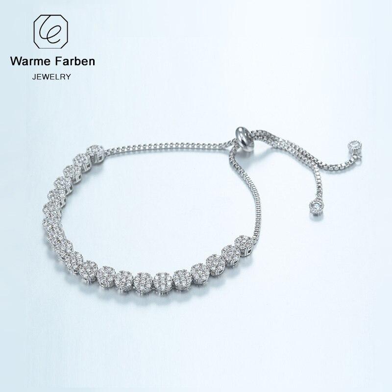 8a842db9 WARME FARBEN cristal de Swarovski para mujer pulseras de circonita de plata  con diamantes pulsera ...