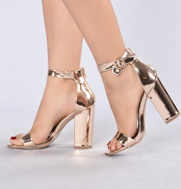 Rose Gold Chunky Heel Sandals For Women Ankle Strap Thick