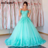 Sky Blue Sofuge Tulle Off The Shoulder Appliques Ball Gown Puffy Pleat Quinceanera Dresses Debutante Vestido 15 Anos Festa