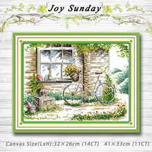 Beau The Quiet Out Of The Window Garden Decor Painting 14CT 11CT Counted Cross  Stitch Kits Embroidery