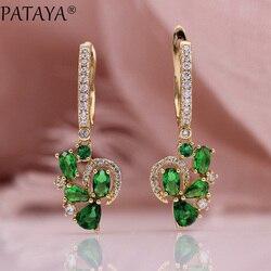 PATAYA, новинка, зеленые длинные висячие серьги в виде капель воды, 585, розовое золото, милые круглые овальные натуральные циркониевые женские с...