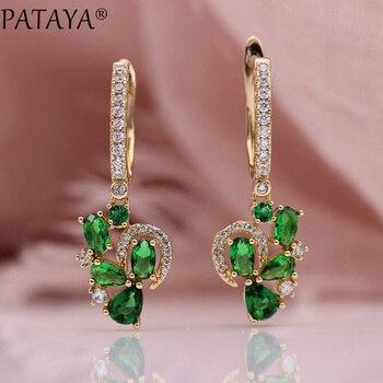 2de17738a099 PATAYA nuevo verde gota de agua pendientes 585 oro rosa lindo redondo Oval  Natural de las mujeres de la boda está de moda joyería