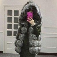 FURSARCAR Fashion Luxury Women Real Fox Fur Vest With Hood 2019 NEW Natural Fox Fur Waistcoat Gilets Female Winter Fur Coat