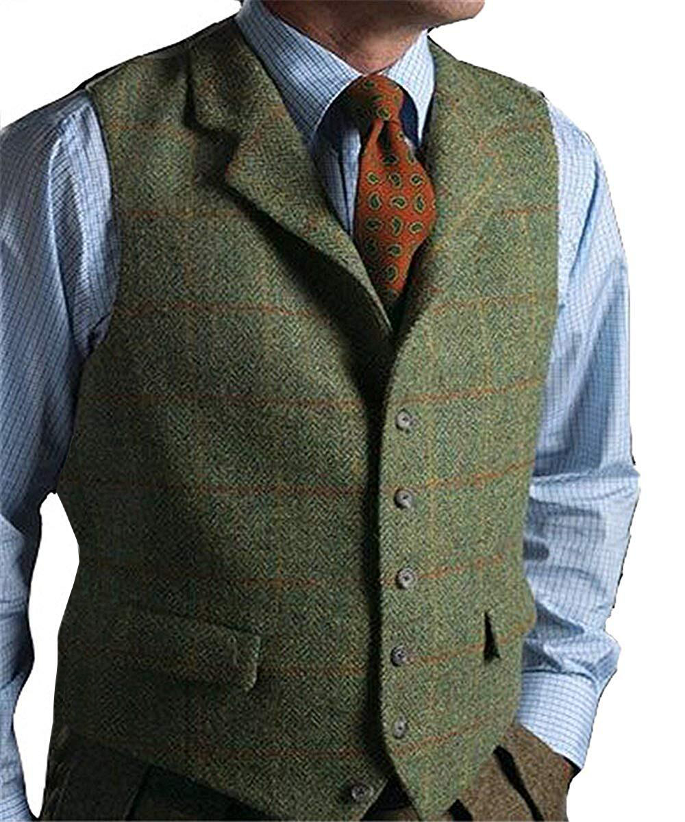 Suit Vest Waistcoat Plaid Wool Herringbone Tweed Slim-Fit Men's New Lapel Green