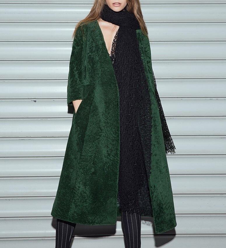Arlene Sain 2017 Forest green V neck Bath robe sheepskin coat 3 ...