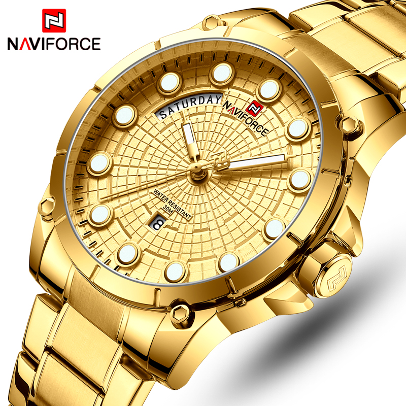 NAVIFORCE Top Brand Luxury Watches Men Stainless Steel Water