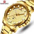 NAVIFORCE Top Marke Luxus Uhren Männer Edelstahl Wasserdichte Uhren Männer Gold Quarz männer Armbanduhr Relogio Masculino