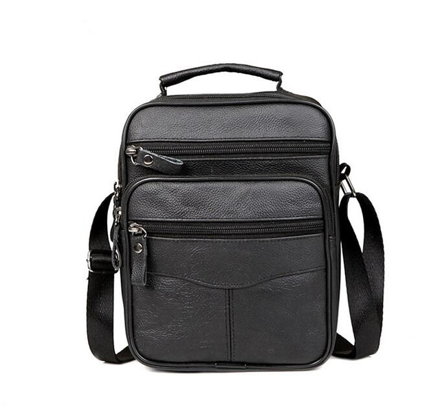 2017 New Fashion  Genuine  Leather Man Bag Men's Messenger Bag High Quality Black Square Section Vertical Shoulder Bag Business