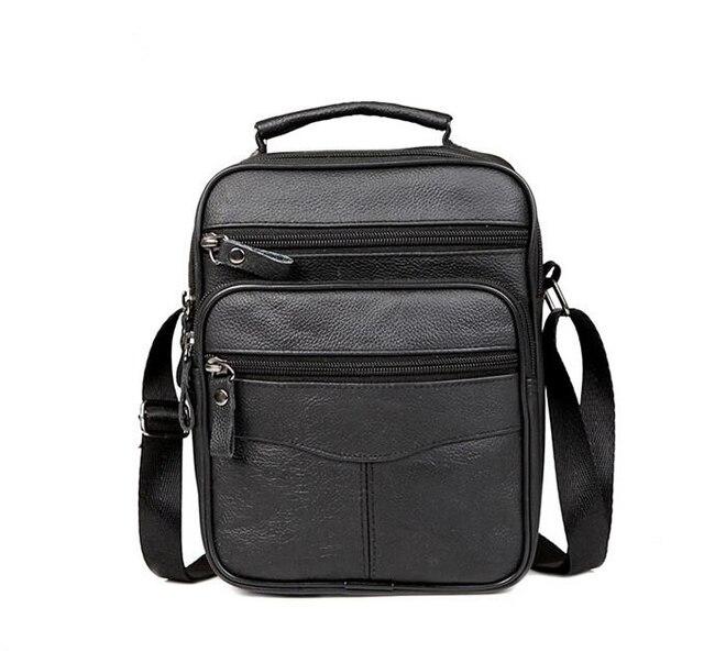 2018 New Fashion Genuine Leather Man Bag Men s Messenger Bag High Quality  Black Square Section Vertical Shoulder Bag Business 4b99dd039e