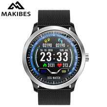 Купить с кэшбэком Makibes BR4 ECG PPG smart watch Men with electrocardiogram display holter blood pressure Bluetooth smart Bracelet FitnessTracker