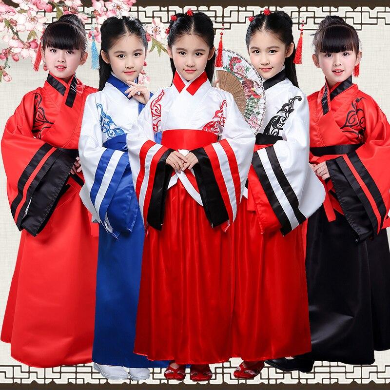 ancient costume chinese traditional opera kids dynasty ming tang han hanfu dress child folk dance children girl boys clothing