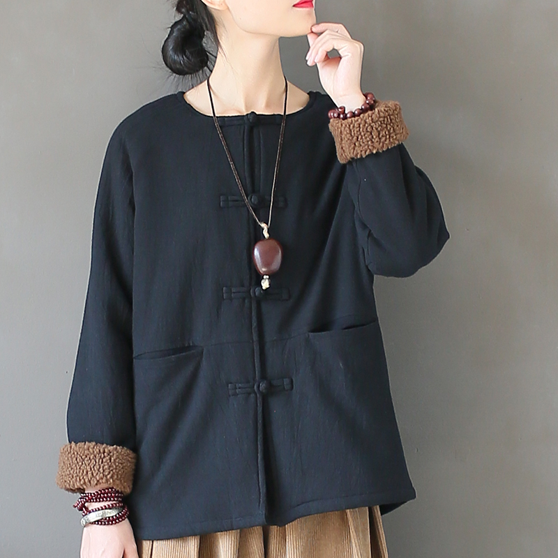 Johnature Women Vintage Fleece   Parkas   Button Thick Warm Pockets Coat 2018 Winter New Long Sleeve O-Neck Loose Women   Parkas