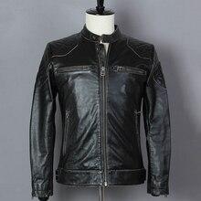 2018 de moda negro Vintage de piel de vaca de la motocicleta Chaqueta Slim  Fit chaqueta de cuero genuino de los hombres David . 15a0ab3bd18