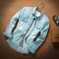 Т китай дешевые оптовая продажа 2016 весна осень новая джинсовая рубашка тонкий мужской свободного покроя с длинными рукавами тонкая верхняя одежда лето мужская одежда