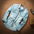 T de china barato venta al por mayor 2016 otoño nueva camisa de mezclilla delgada para hombre de manga larga ocasional prendas de vestir exteriores delgada verano ropa hombre