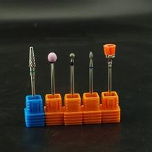 5Pcs Diamond Ceramic Stone Carbide Nail Drill Bits Set Nail Files Rotary Electric Nail Polished Manicure Mill Cutter Accessories