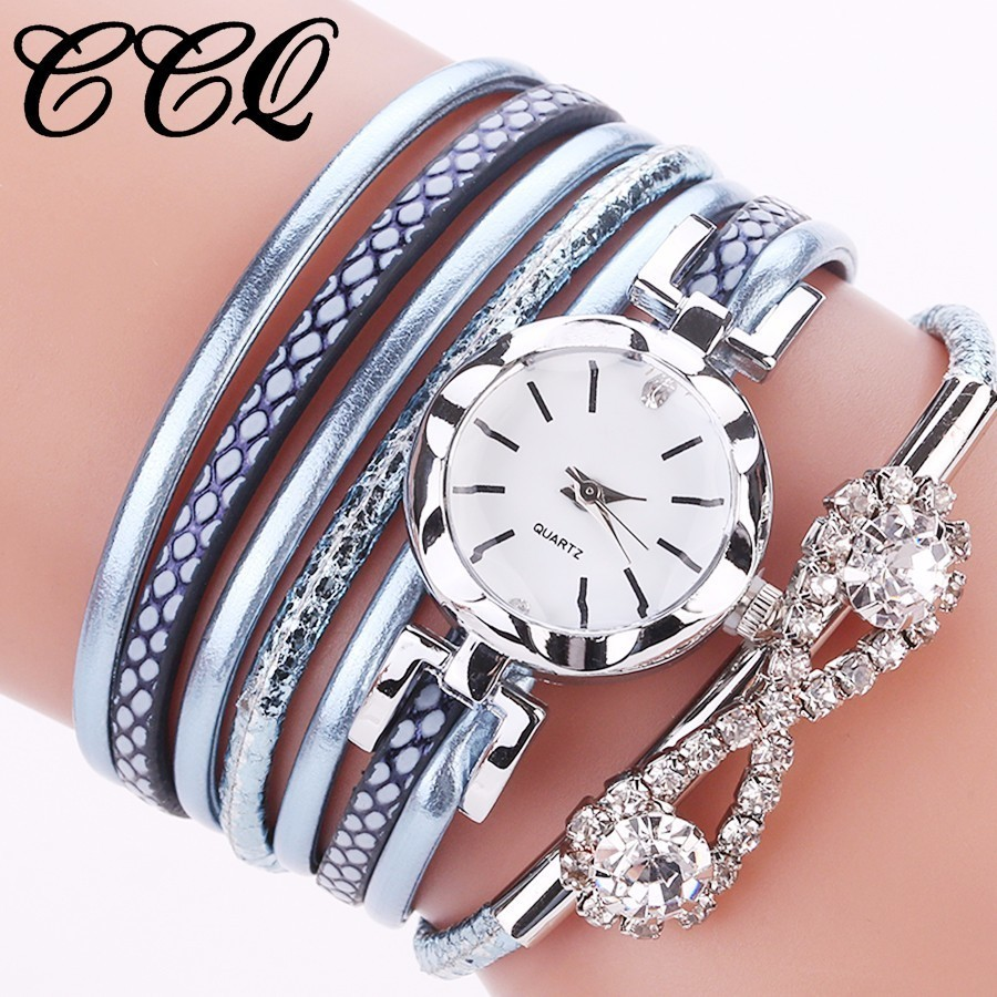 Fashion Women Rhinestone Bracelet Watches Ladies Clock Multilayer Jewel