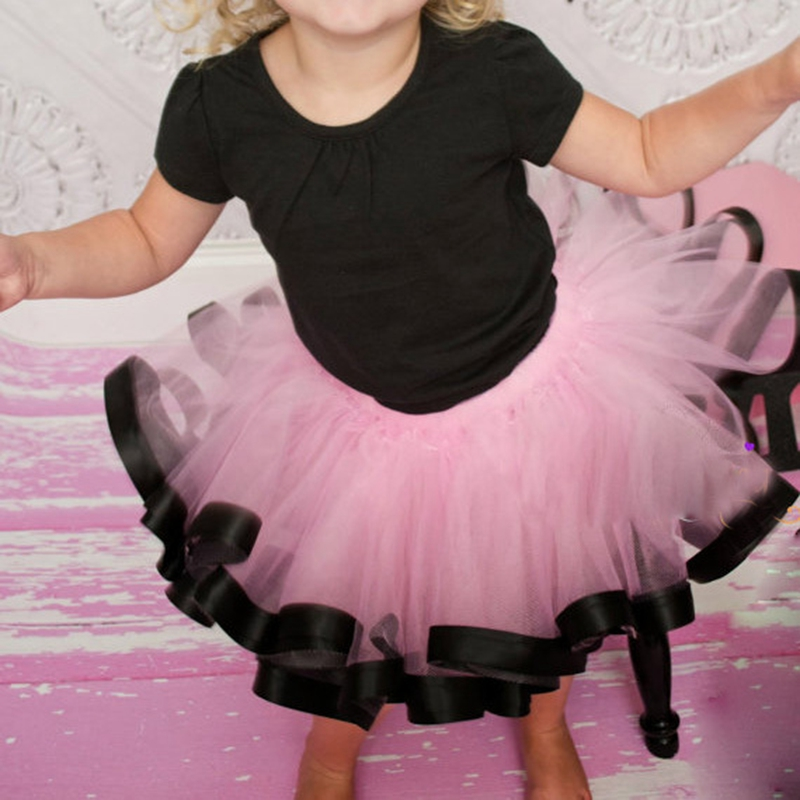 Baby Girls Ribbon Tulle Tutu Kjol Söt Kids Chiffon Casual Fluffy Ball Gown Pettiskirt Fashion Småbarn Tjej Mini Dance Kjol