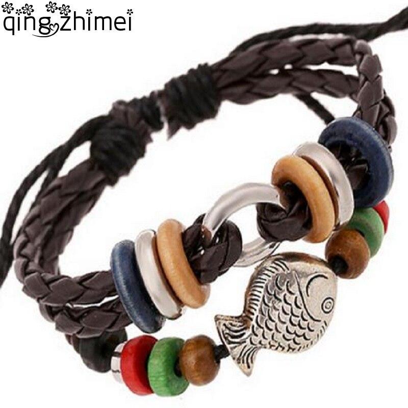 Handmade Leather Weave Chain Metal Fish Female Charm Bracelets 2018 New Fashion Snake Chain Jewelry Travel Bracelet For Women