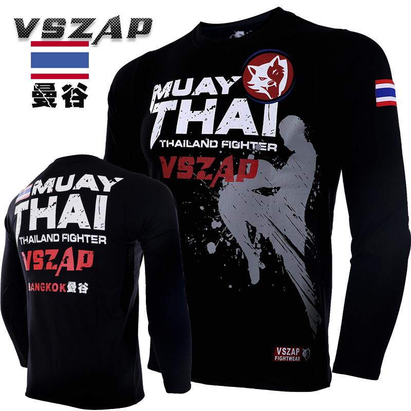 VSZAP Bangkok Boxing MMA Long Sleeve T Shirt Gym Tee Shirt Fighting Martial Arts Fitness Training Muay Thai Jersey Men Homme